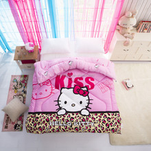 Washable 200gsm 100% polyester reactive printing pink twin kids comforter set