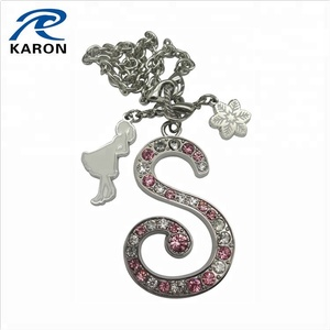 cheap personalized s shape pendant with crystal