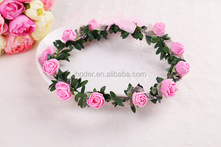 The wedding flower head wreath pink Children's headdress spring decorative white flower hair wreath