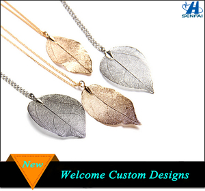 Hot New Products Fashion Jewelry Gold Leaf Charm Necklace, Female Silver Jewelry Rose Gold Plated Thin Filigree Leaf Necklace