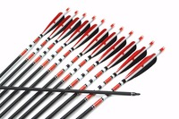 "31"",Spine 500,Red and Black Turkey Feather Target Practice Archery Fiberglass Arrows for Hunting Compound &Recurve Bow"