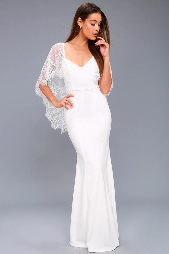 Últimas patrones vestido Formal encaje sirena Sexy vestido blanco ...
