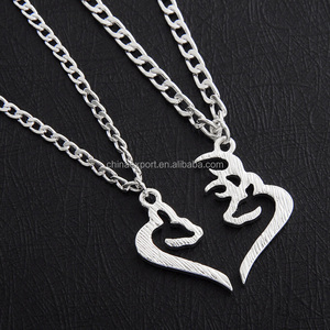 Made In China Alloy Couples Breakable Half Heart Pendant Necklace