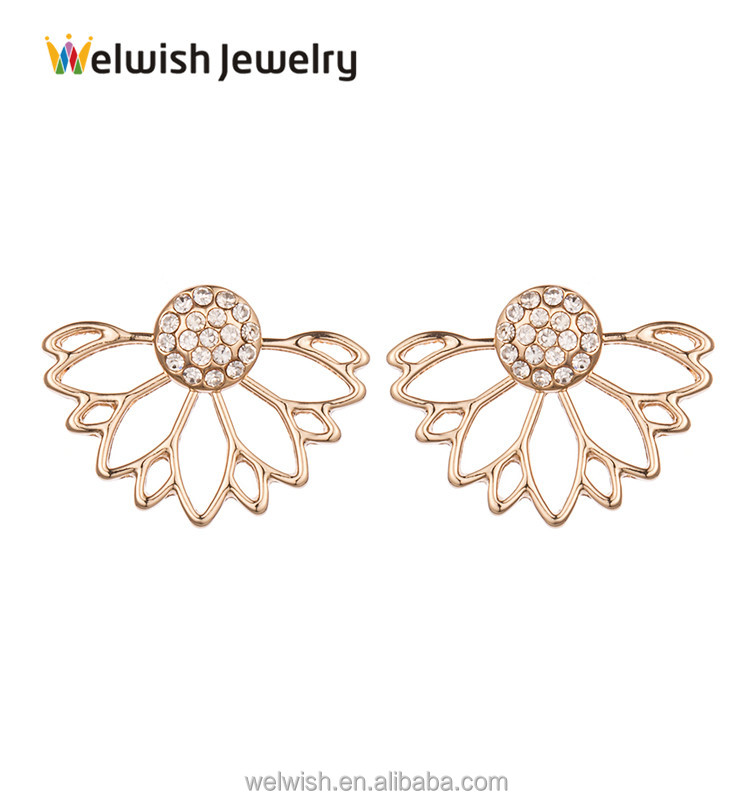 2017 Elegant Women Fashion Jewelry Alloy Lotus Earring Jacket