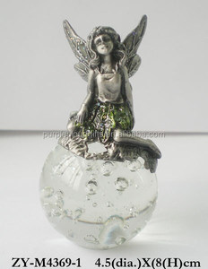 Pewter baby fairy figurines wholesale, sexy fairy on glass ball