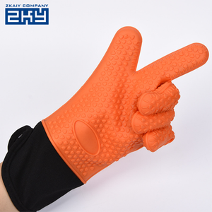 Silicone Rubber Oven Mitt Gloves Heat Proof Mat Grip,Extra Long Sleeve Cotton Gloves