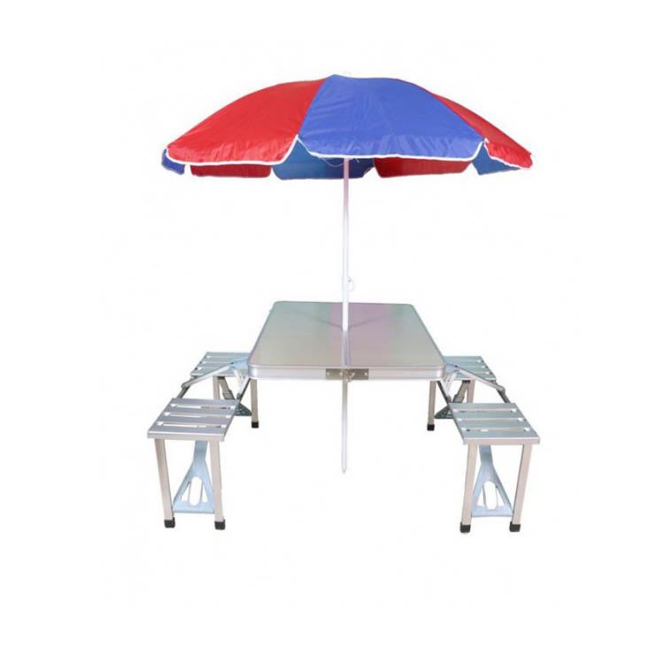 Portable suitcase aluminum folding table with chairs and umbrella hole