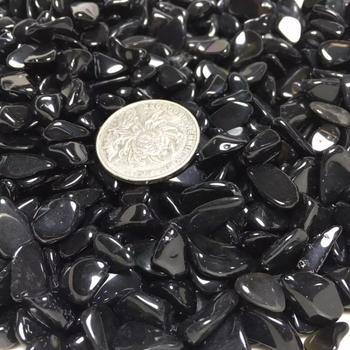 natural black obsidian macadam crystal tumbled stone gravel