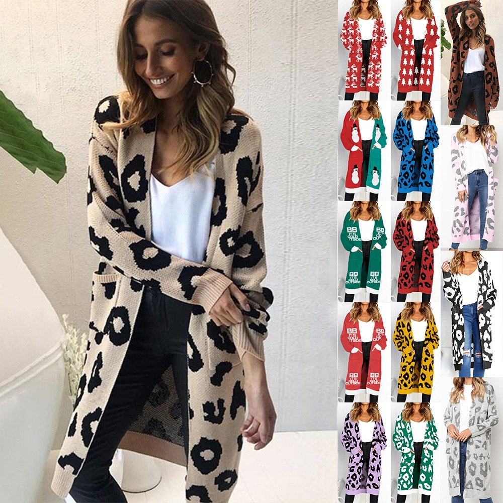 Ladies Long Knitted Leopard Print Sweater Women Large Outwear Coats Oversized Long Sweater Cardigan