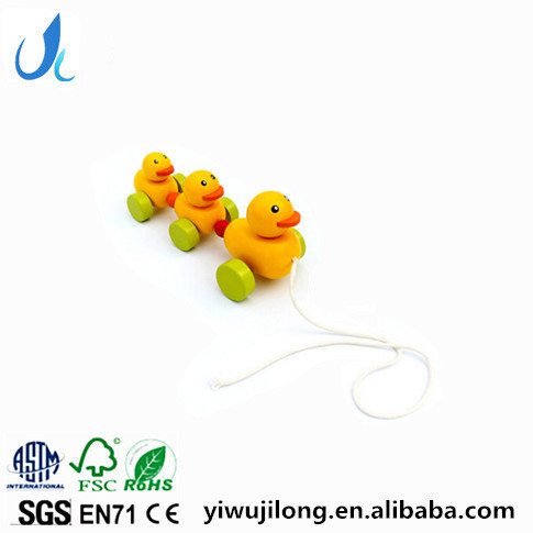 new design wooden yellow duck pull toys pull duck car children's educational toys