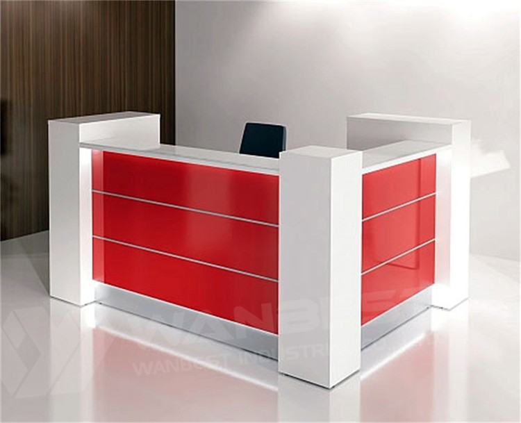 White And Red Solid Surface Office Reception Front Desk