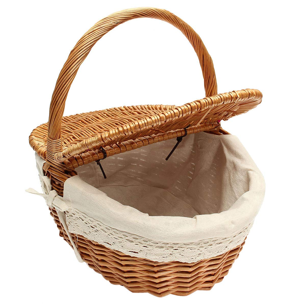 UBEDA Wicker Willow Picnic Basket Hamper Shopping Basket with Lid and Handle and White Liner for Camping