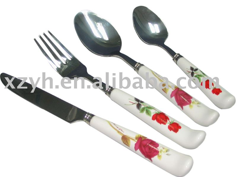 stainless steel cutlery with porcelain handle