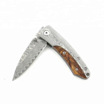 wood+Damascus handle, side lock High quality Damascus blade knife
