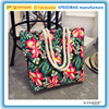 Wholesale / Custom flower printed women ladies tote bag cotton canvas beach bag cotton handle shoulder in stock
