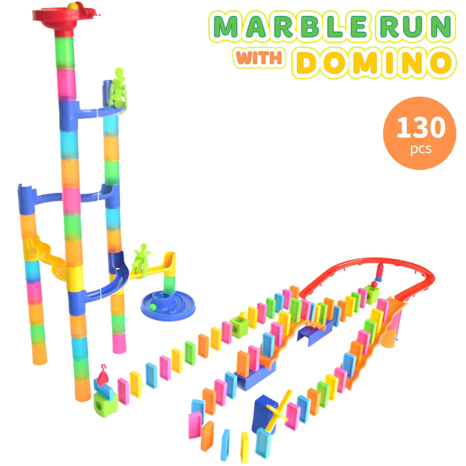 Marble Run Toy with Dominos - 130 Pcs Marble Maze STEM Learning Toy for Boys and Girls Age 4 5 6 Years Old | Builds Problem Solving and Fine Motor Skills