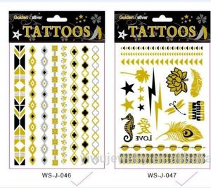 T005-006 Manufacture tattoo paper gold and silver tattoo glitter removal bulk temporary tattoo sticker