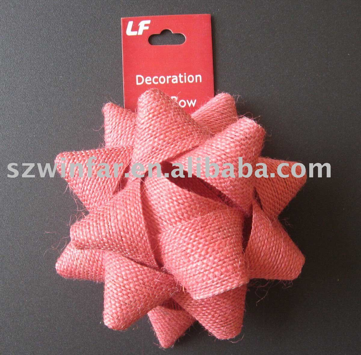 jute ribbon star bow red