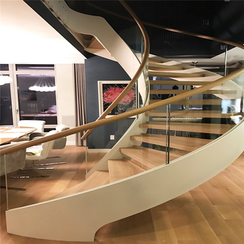 Modern Curved Glass Staircases/Helical Staircase Design/Curved Glass Railing