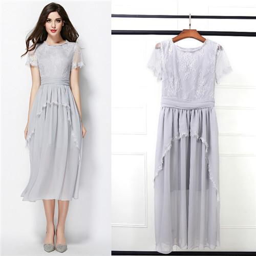 0b8b51a8757 Get Quotations · chiffon mid-calf dress women midi dresses casual runway  grey elegant lace dresses top end