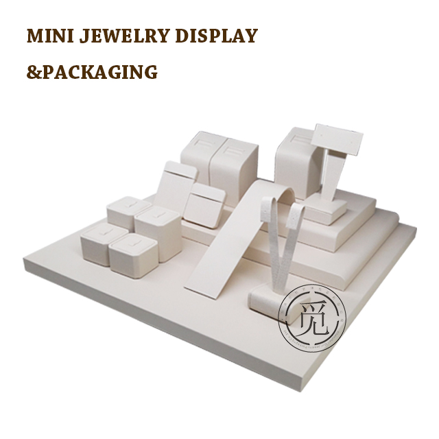 China mini small piece earring holder neck;ace pendant stand bust display table set ring jewelry display