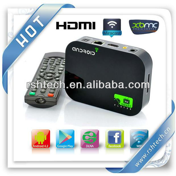 Androide tv box dualcore hd media hub Android 4.2 XBMC Streaming Player miracast AirPlay DLNA