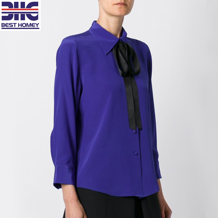ea972f0b1cf6f Long sleeve tops silk crepe de chine ladies shirts pussy bow tie blouses  for womens