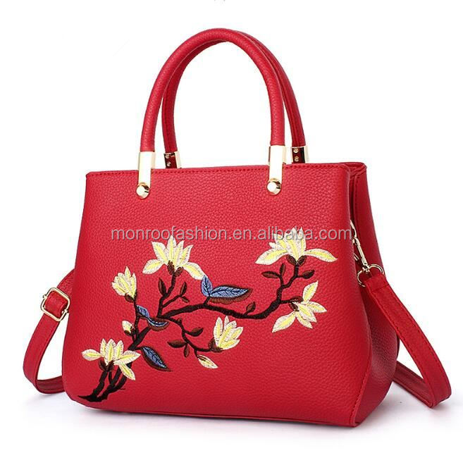 Monroo Wholesale women bags handbag flower embroideried tote china