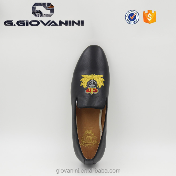 loafers quality China leather embroidery Calf Gold manufacturer shoes Black wholesale high men nZxBXg7wTq