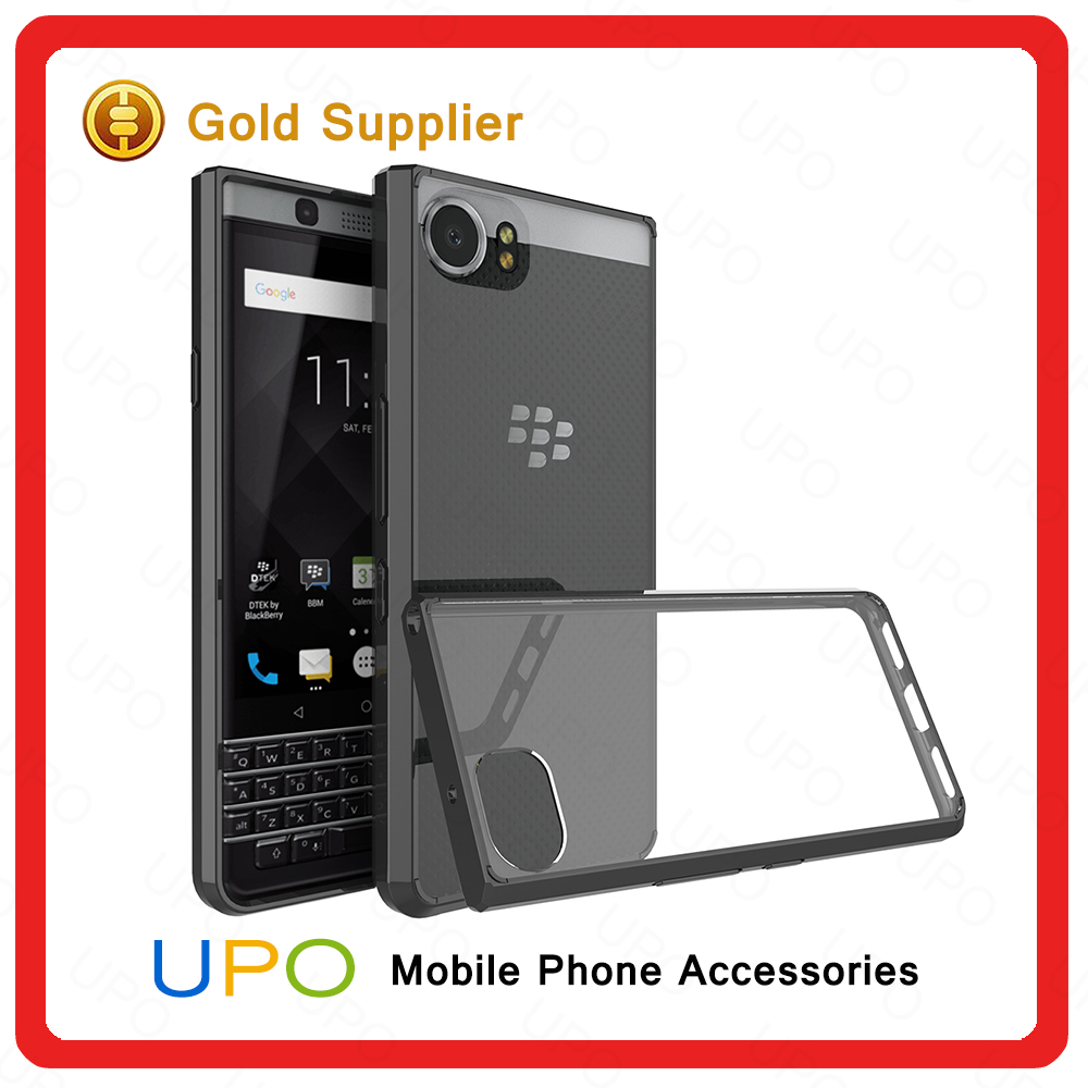 [UPO] For Blackberry KEYone Mercury Case,Transparent Acylic TPU PC Bumper Mobile Phone Cover Case