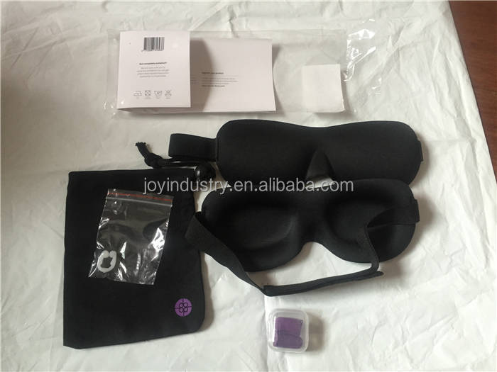 J013Luxury Blindfold Sleep Mask 3D Contoured Eye Mask & Ear Plugs for Relaxation
