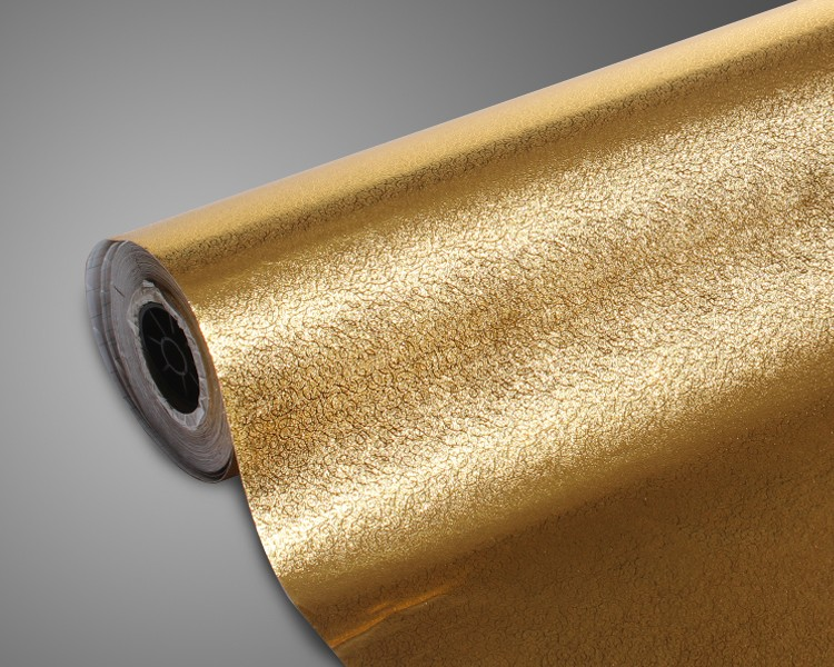 Fireproof waterproof deep embossed thick material golden paper aluminium foil film wallpaper for cabinet Backsplash decoration