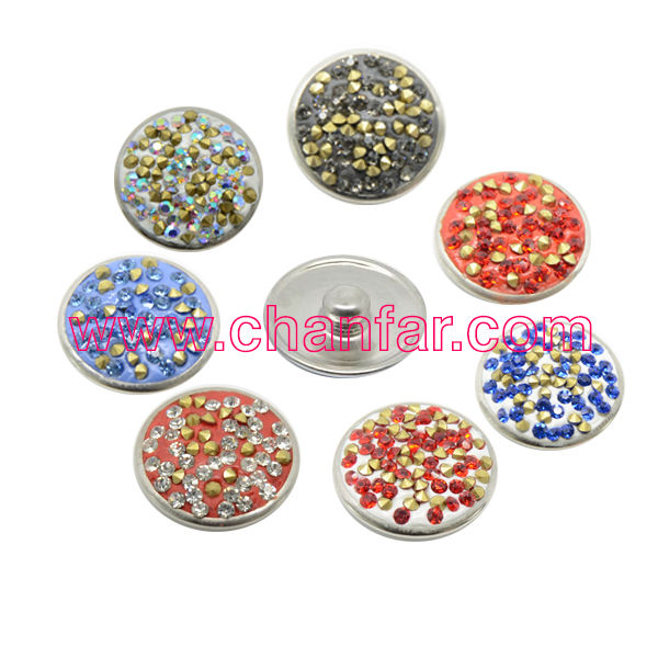 Colorful Clay Crystal Alloy Button Charms Jewelry,Fit Leather Bracelet(Mixed Color)