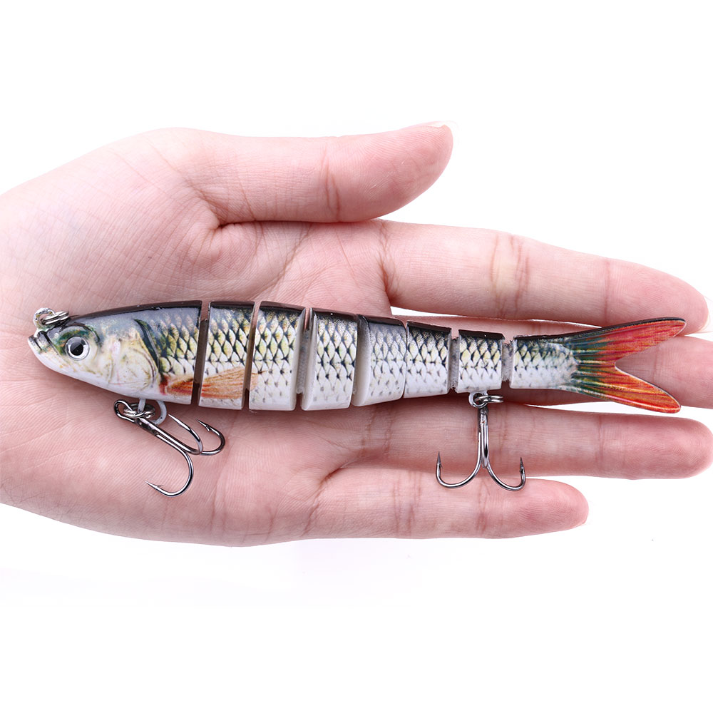 Artificial Fishing Lures Bass 5.4 Multi Jointed Minnow Swim bait Slow Sinking Hard Lure Fishing Tackle, Various colors