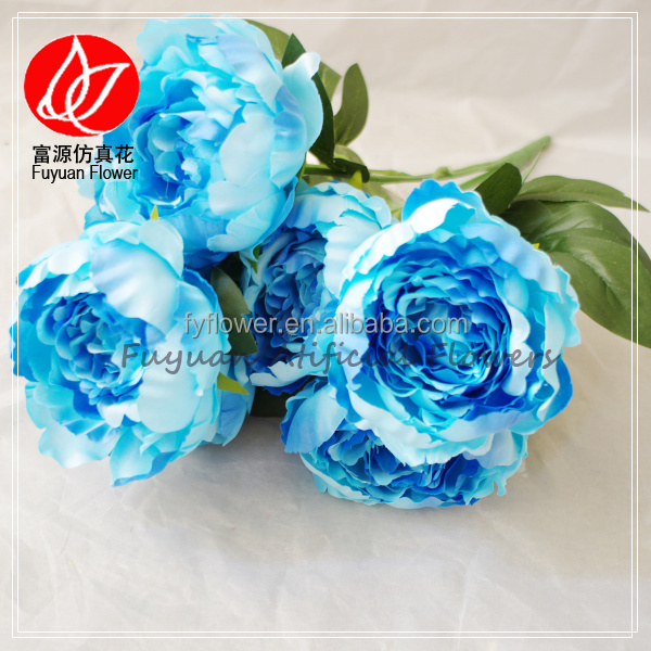 90060301 Wholesale artificial wedding decoration blue peony silk flowers