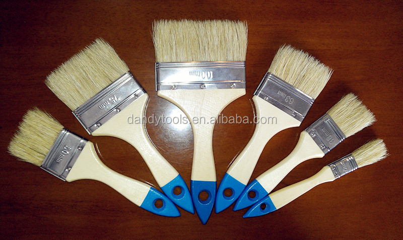 Quality best price wooden handle pig bristle hair paint brush cheap painting hand tool