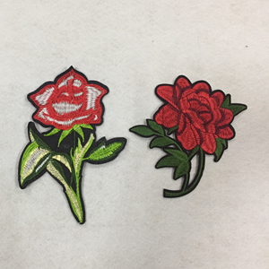 Low Price Best Quality Wholesale Custom Applique Rose Flower Patch Embroidery Supplier from China