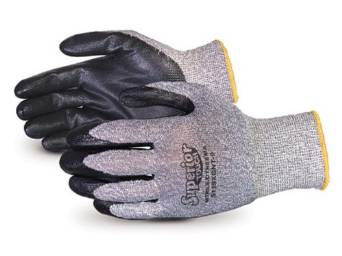 Superior S13SXGNT Superior Touch Dyneema Speckled String Knit Glove with Nitrile Coated Palm, Work, Cut Resistant, 13 Gauge Thickness, Size 10, Black/Gray (Pack of 1 Pair)