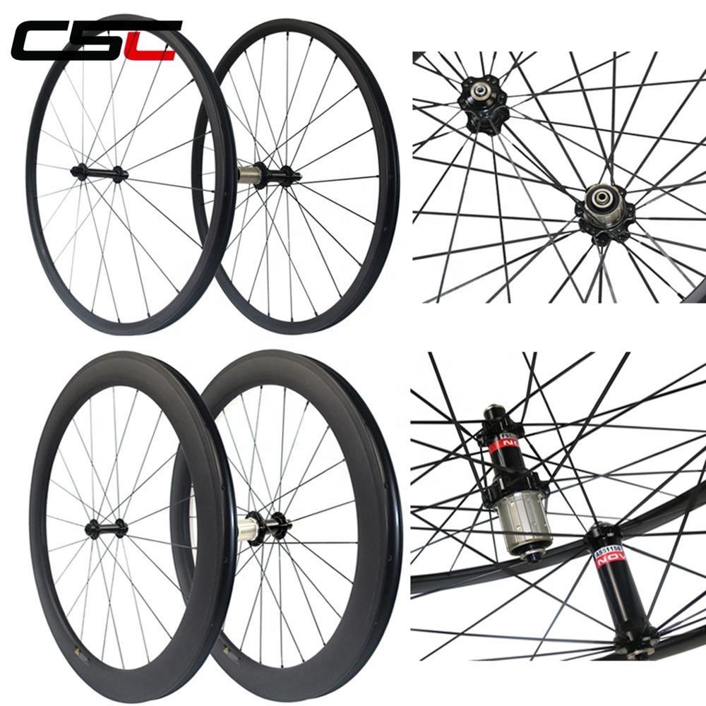 CSC 700C Carbon MTB Wheels 60mm Depth 23 25mm width road bike wheels with Powerway R13 Hub Profile Tubular OR Clincher Wheelset