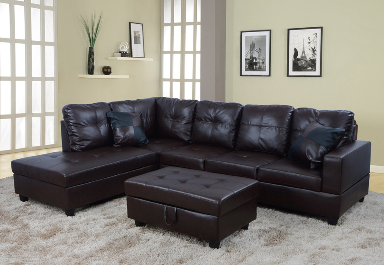 Amazing Buy Lifestyle Faux Leather Left Facing Sectional Sofa Set Spiritservingveterans Wood Chair Design Ideas Spiritservingveteransorg