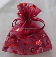 10*14cm red transparent printed with glitter gold hearts mesh present bag for Christmas/Bottle/Easter/Gifts wrapping