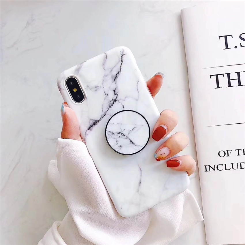 Marble cell phone Case For SAMSUNG A40 A50 A70 Fashion Grip Stand Holder Silicone Soft фото