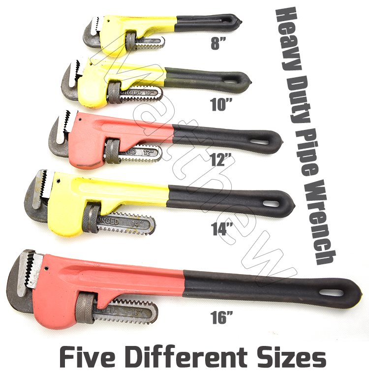 Heavy Duty Straight Pipe Wrench with Adjustable Jaw