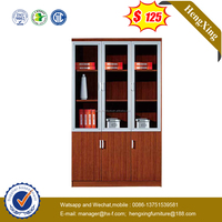 Aluminum frame 3 glass doors bookcase wooden file cabinet (HX-4FL009)