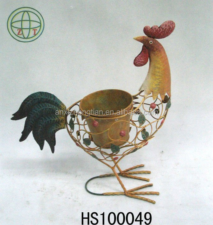 Decorative metal and coco liner rooster garden pot