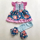 High quality baby girls boutique outfits wholesale children girl clothes sets kid dress capris clothing set