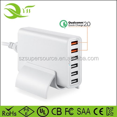 Home travel wall charger multi port wall charger qc 2.0 cell phone charging station for Samsung Galaxy smartphone