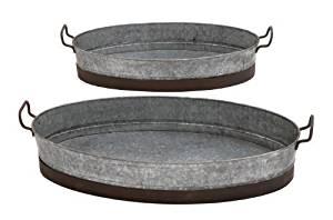 Benzara Attractive Contemporary Styled Metal Planter Tray by Benzara