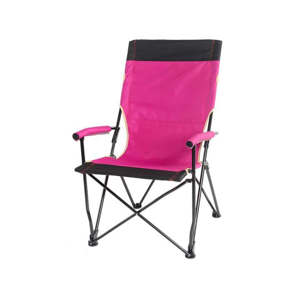 Get Quotations · GZH Folding Chair Outdoor Beach Convenient Leisure Fishing  Backrest Adult Sketching Camping Barbecue Chair Pink