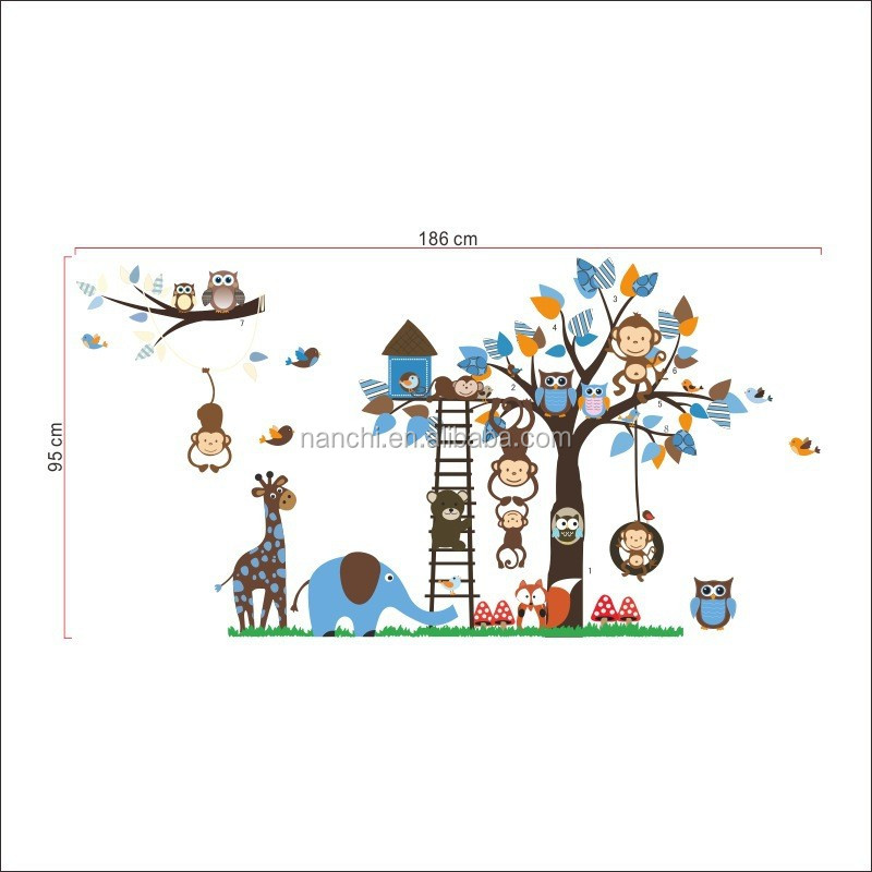 Funny Jungle Zoo Meeting on a Tree Owl Monkey Wall Decal for Kids Nursery Room